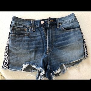 High waisted denim shorts with Aztec detail